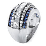Diamonart Womens 3 1/4 CT. T.W. White Cubic Zirconia Platinum Over Silver Rectangular Cocktail Ring
