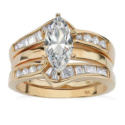 Diamonart Womens 3 1/2 CT. T.W White Cubic Zirconia 18K Gold Over Silver Diamond Bridal Set