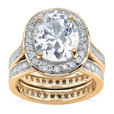 Diamonart Womens 6 CT. T.W. White Cubic Zirconia 18K Gold Over Silver Bridal Set