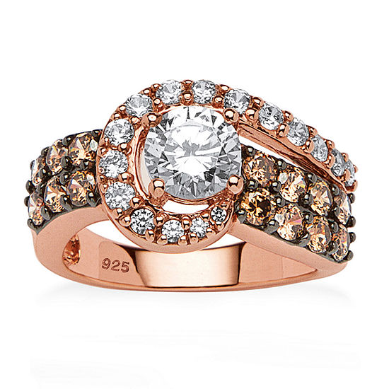 Diamonart Womens 2 1/2 CT. T.W. White Cubic Zirconia 14K Rose Gold Over Silver Round Cocktail Ring
