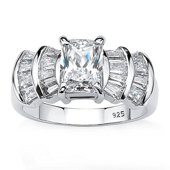 Diamonart Womens 3 CT. T.W. White Cubic Zirconia Platinum Over Silver Rectangular Engagement Ring