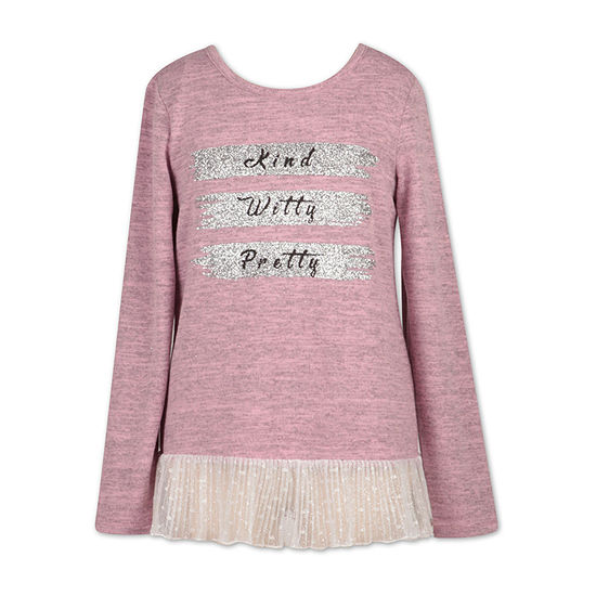 Speechless Round Neck Long Sleeve Graphic T Shirt Big Kid Girls