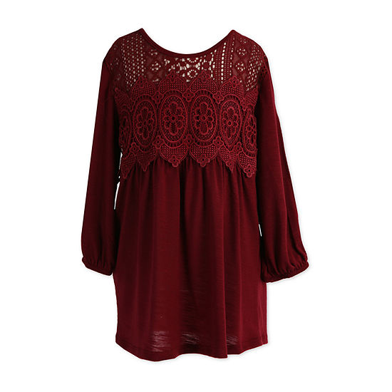 Speechless Scoop Neck 3/4 Sleeve Lace Trim Babydoll Top - Big Kid Girls