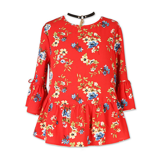 Speechless Round Neck 3/4 Sleeve Blouse - Big Kid Girls