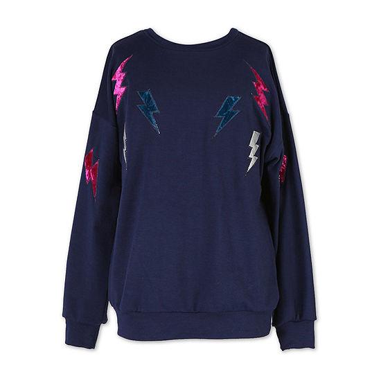 Speechless Scoop Neck Long Sleeve Embroidered Sweatshirt - Big Kid Girls