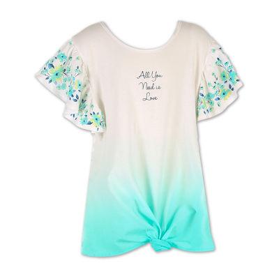 Speechless Scoop Neck Short Sleeve Graphic T-Shirt-Big Kid Girls