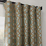 Exclusive Fabrics & Furnishing Filigree Flocked Faux Silk Curtain Panel