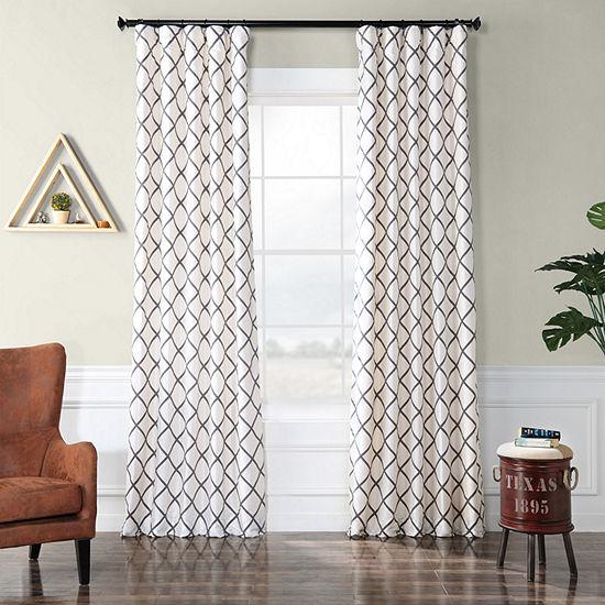 Exclusive Fabrics & Furnishing Pavillion Flocked Faux Silk Curtain Panel
