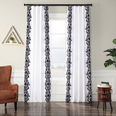 Exclusive Fabrics & Furnishing Castle Flocked Faux Silk Rod-Pocket Curtain Panel