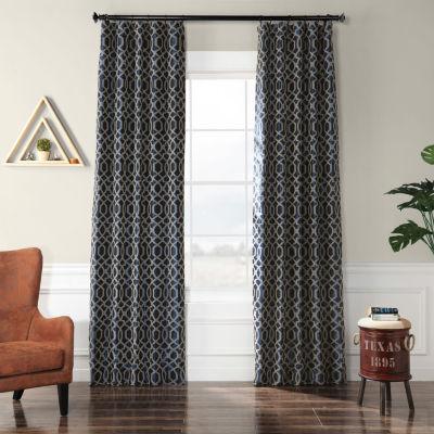 Exclusive Fabrics & Furnishing Filigree Flocked Faux Silk Rod-Pocket Curtain Panel