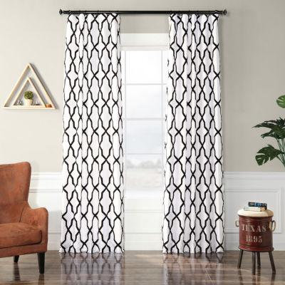 Exclusive Fabrics & Furnishing Pinnacle Flocked Faux Silk Rod-Pocket Curtain Panel