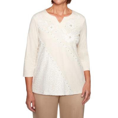 Alfred Dunner Good To Go-Womens Split Crew Neck 3/4 Sleeve T-Shirt