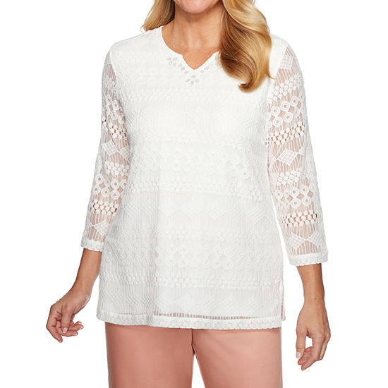 Alfred Dunner Good To Go Lace Top