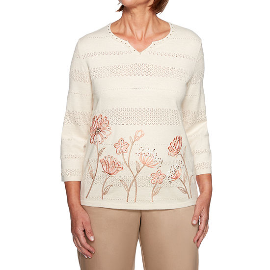 Alfred Dunner Good To Go Floral Border Sweater
