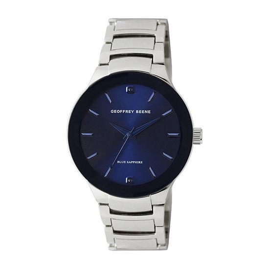 Geoffrey Beene Blue Sapphire Mens Silver Tone Bracelet Watch-Gb8188sl