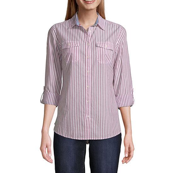 St. John's Bay-Tall Womens Long Sleeve Classic Fit Button-Down Shirt