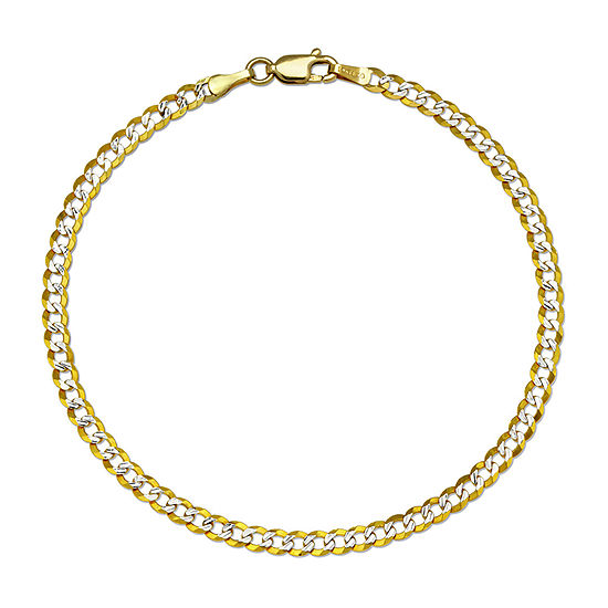 14K Gold 8 1/2 Inch Solid Curb Chain Bracelet