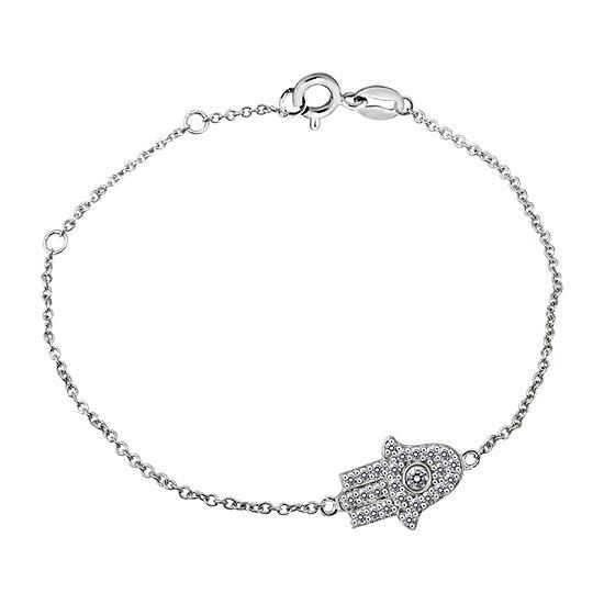 Diamonart 1/2 CT. T.W. White Cubic Zirconia Sterling Silver Charm Bracelet