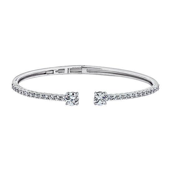 Diamonart 3 3/4 CT. T.W. White Cubic Zirconia Sterling Silver Bangle Bracelet