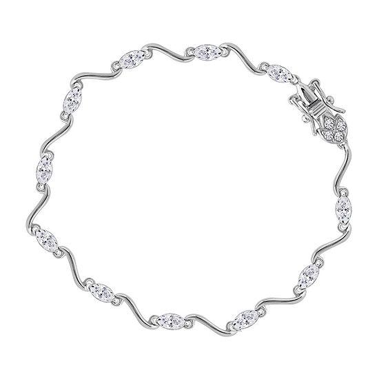 DiamonArt® Sterling Silver 7.25 Inch Link Link Bracelet
