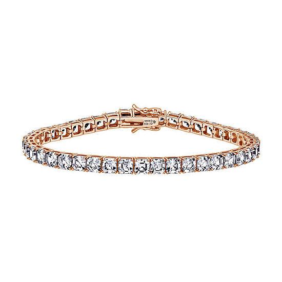 DiamonArt® White Cubic Zirconia 14K Rose Gold Over Silver 7.25 Inch Tennis Bracelet