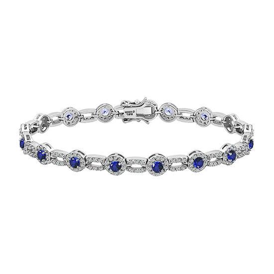 Diamonart 4 CT. T.W. Multi Color Stone Sterling Silver 7.25 Inch Tennis Bracelet