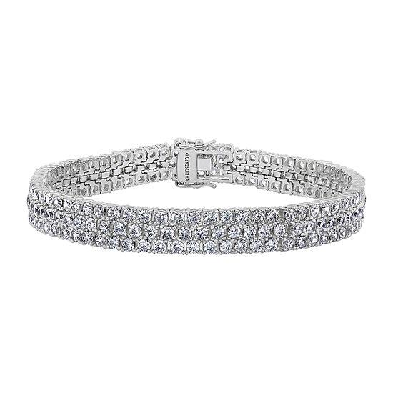 DiamonArt® White Cubic Zirconia Sterling Silver 7.25 Inch Tennis Bracelet