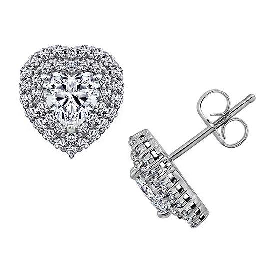 DiamonArt® 2 1/2 CT. T.W. White Cubic Zirconia Sterling Silver Heart Stud Earrings
