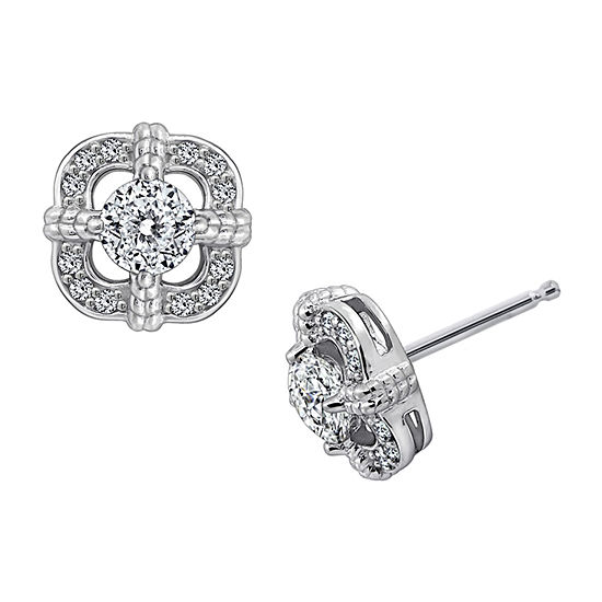 Diamonart 1 1/3 CT. T.W. White Cubic Zirconia Sterling Silver Flower Stud Earrings