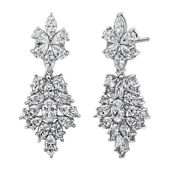 Diamonart White Cubic Zirconia Sterling Silver Flower Drop Earrings
