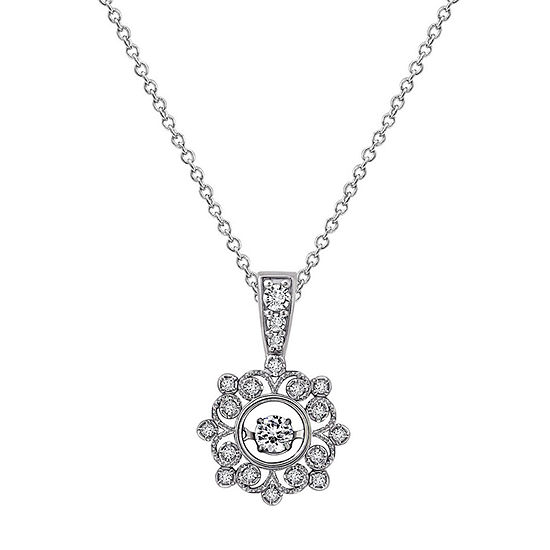 Womens 1 CT. T.W. White Cubic Zirconia Sterling Silver Flower Pendant Necklace