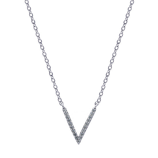 Womens 1/5 CT. T.W. White Cubic Zirconia Sterling Silver Pendant Necklace