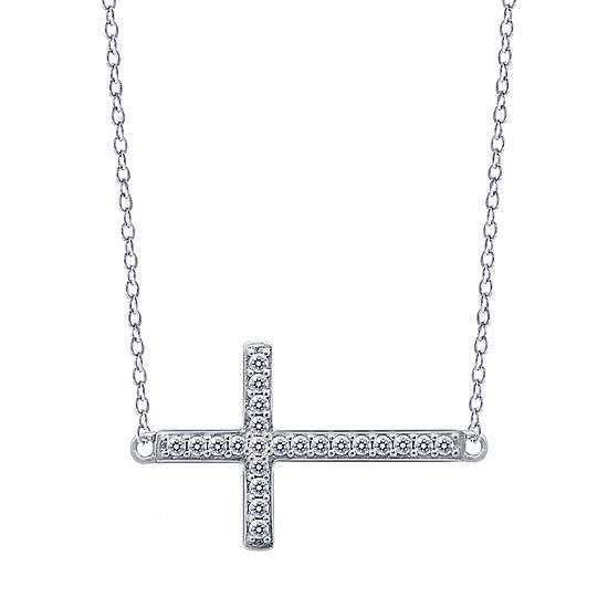 Womens 3/8 CT. T.W. White Cubic Zirconia Sterling Silver Cross Pendant Necklace