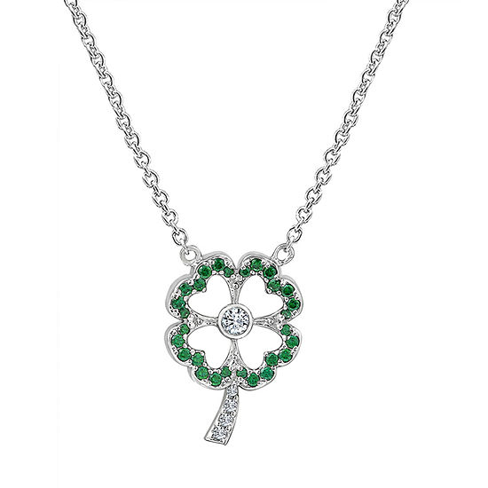 Womens 7/8 CT. T.W. Green Cubic Zirconia Sterling Silver Clover Pendant Necklace