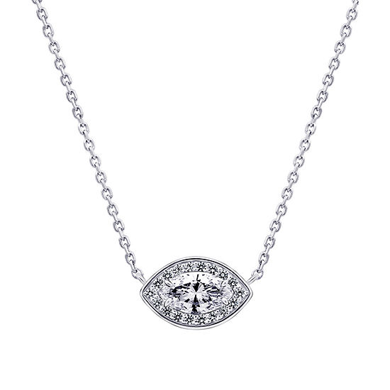 Womens 1 CT. T.W. White Cubic Zirconia Sterling Silver Pendant Necklace