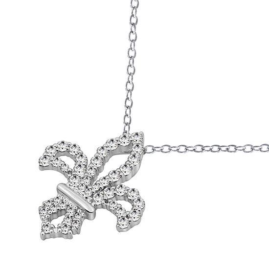 Womens 1 CT. T.W. White Cubic Zirconia Sterling Silver Fleur De Lis Pendant Necklace