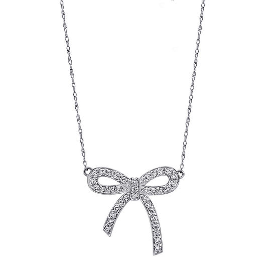Womens 1 CT. T.W. White Cubic Zirconia Sterling Silver Bow Pendant Necklace