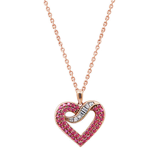 Womens 1 1/2 CT. T.W. Multi Color Cubic Zirconia 14K Rose Gold Over Silver Heart Pendant Necklace