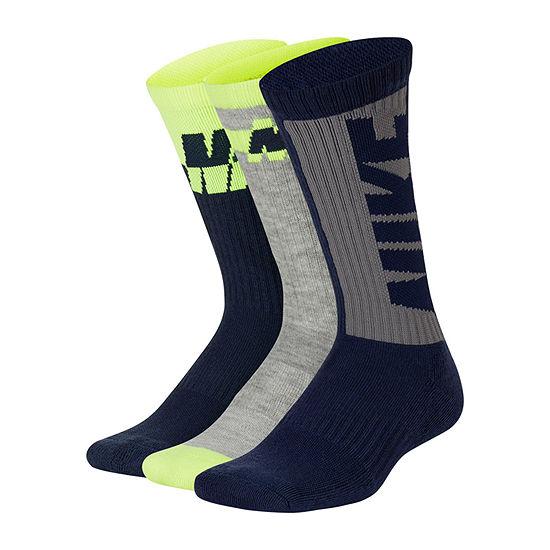 Nike Big Boys 3 Pair Crew Socks