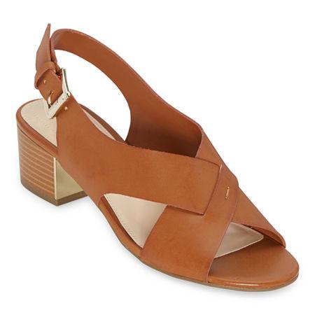Liz Claiborne Womens Calista Heeled Sandals, 7 1/2 Wide, Brown