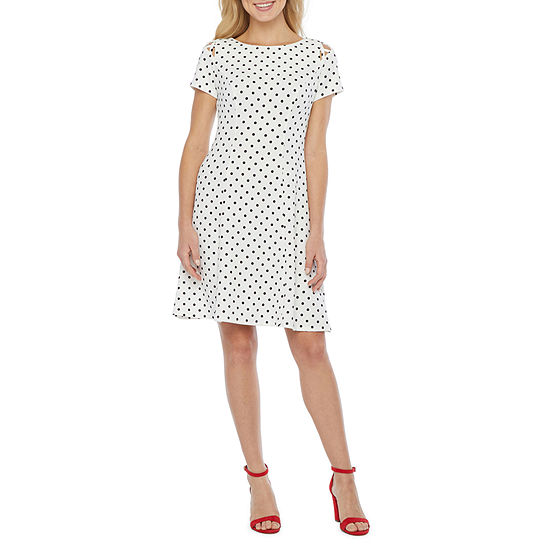 Alyx Short Sleeve Dots Fit & Flare Dress