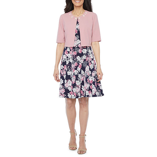 Perceptions-Petite 3/4 Sleeve Floral Puff Print Jacket Dress