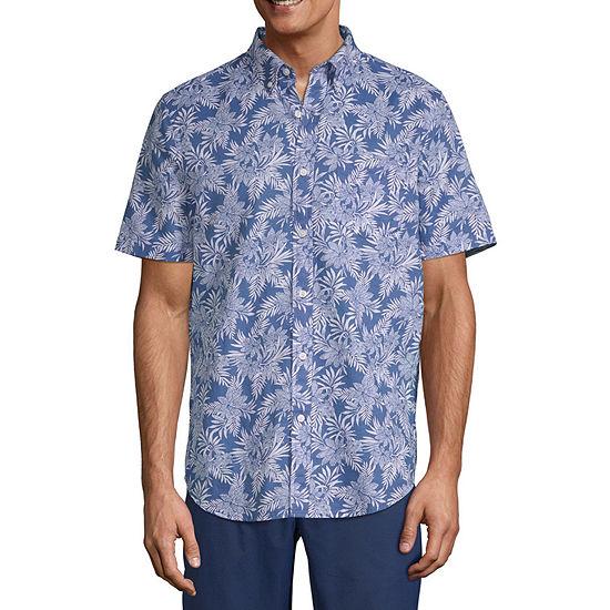 St. John's Bay Linen Blend Mens Short Sleeve Leaf Button-Down Shirt