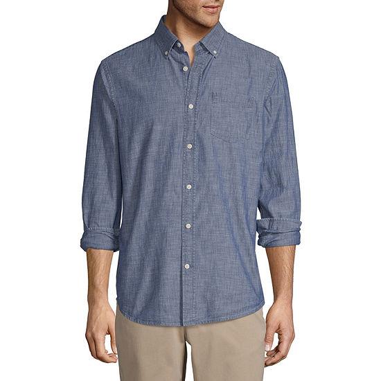 St. John's Bay Chambray Mens Long Sleeve Button-Front Shirt