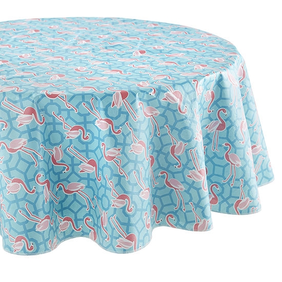 Outdoor Oasis Flamingo Printed Round Tablecloth