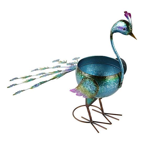 Outdoor Oasis Metal Peacock Outdoor Planter