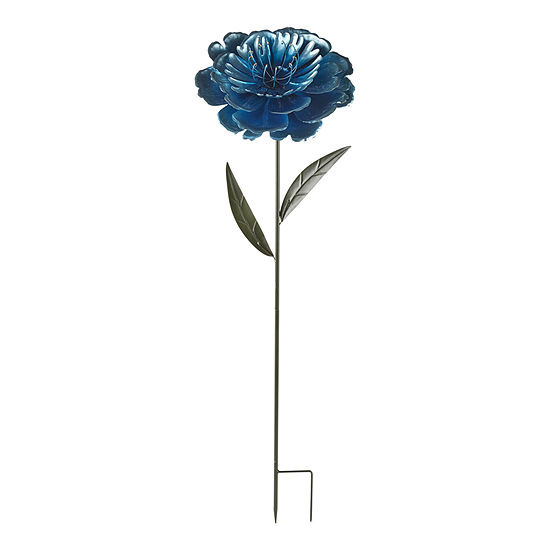 Outdoor Oasis Oversized Turquoise Flower Yard Stake