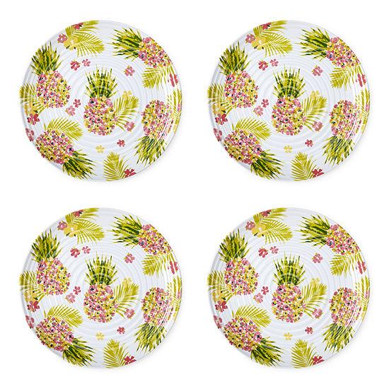 Outdoor Oasis Melamine Pineapple 4-pc. Dinner Plate