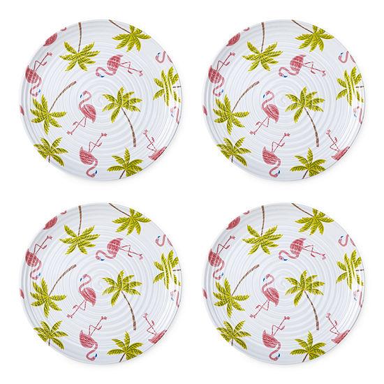 Outdoor Oasis Melamine Flamingo 4-pc. Dinner Plate