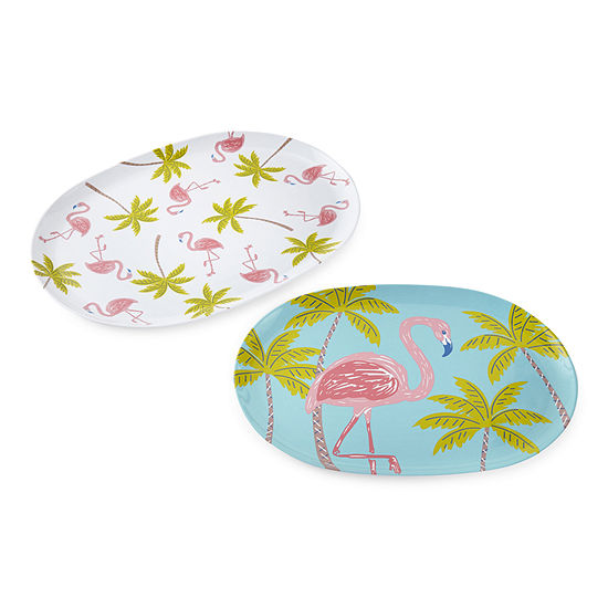 Outdoor Oasis Palm Tree & Flamingo Melamine 2-pc. Serving Tray